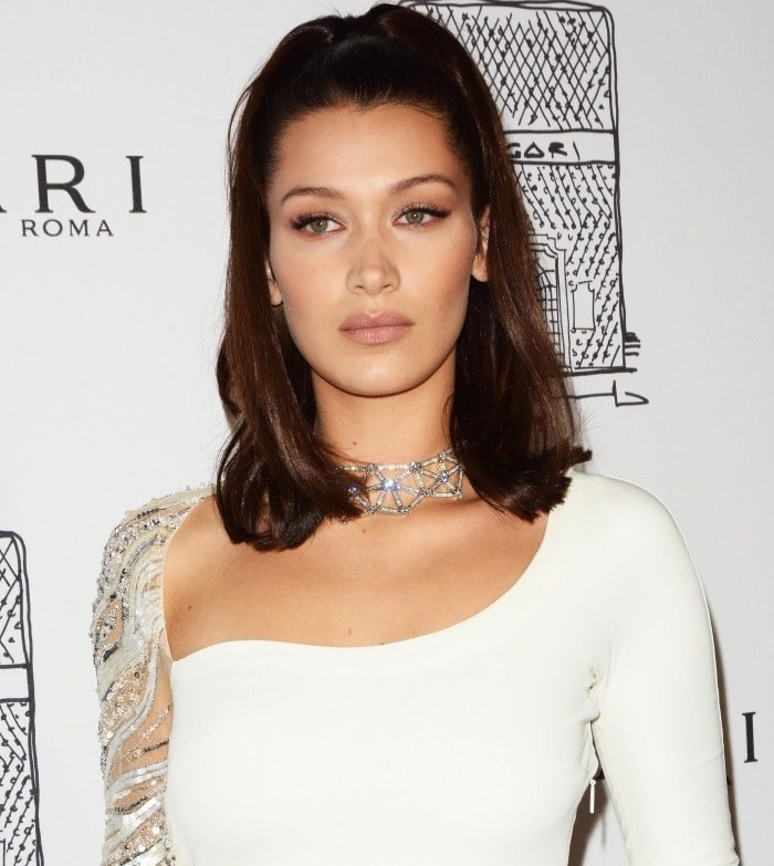 Bella Hadid's statement choker and high ponytail