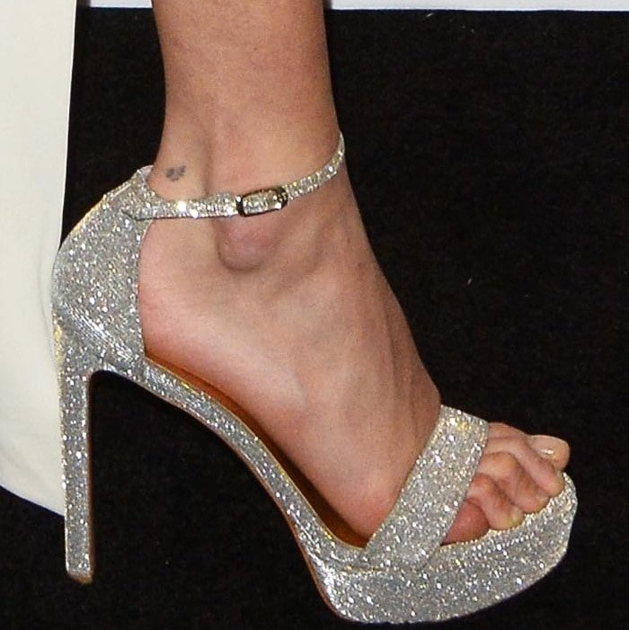 "Bella Hadid wearing Stuart Weitzman ""Sohot"" sandals at the Bulgari New York flagship store reopening"