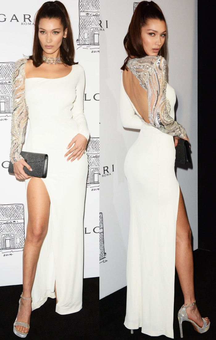 Bella Hadid's white-hot dress with sexy cut-out back and a contrasting sheer embellished sleeve