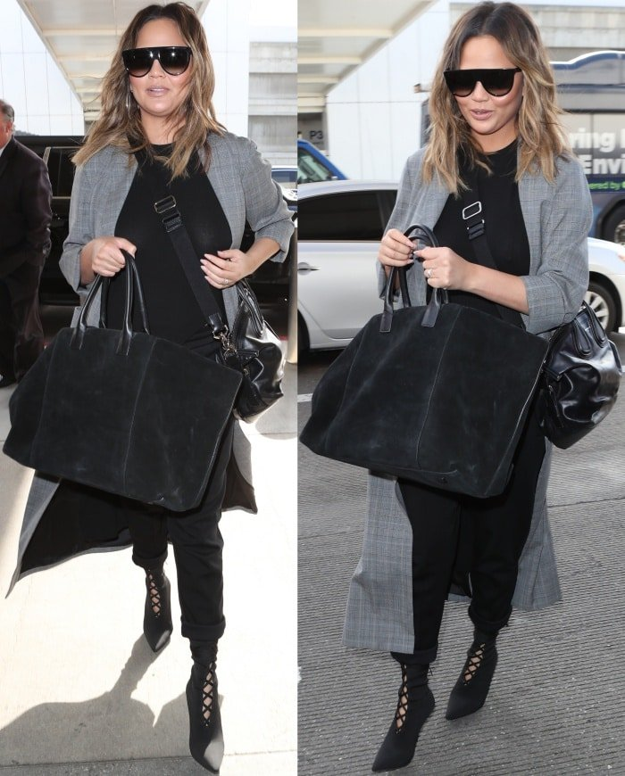 Chrissy Teigen toted a scaled-smaller version of Givenchy's beloved Nightingale satchel