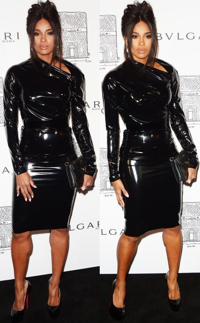 """Ciara wearing an A.F. Vandevorst Fall 2017 Couture dress and Christian Louboutin """"Bianca"""" pumps at the Bulgari """"From Rome to NYC"""" party"""