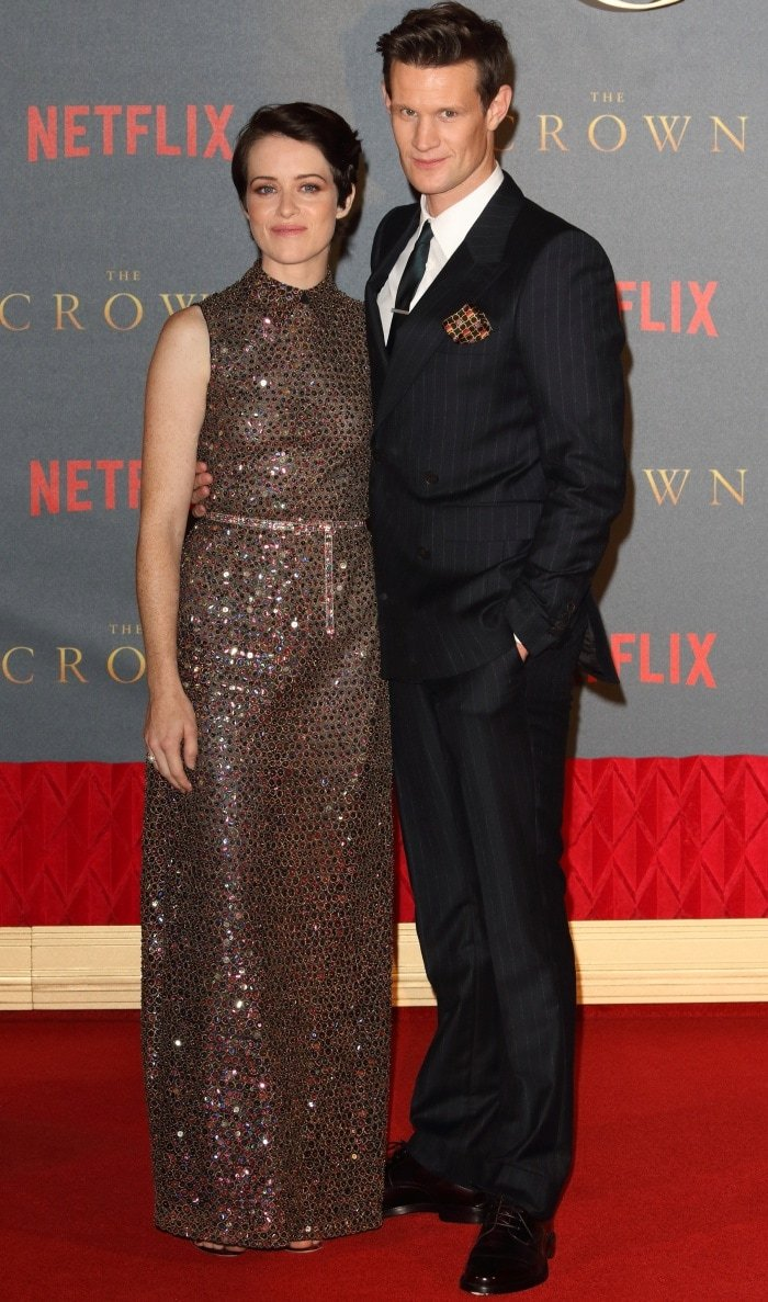 """Claire Foy with Matt Smith at Netflix's """"The Crown"""" Season 2 world premiere"""