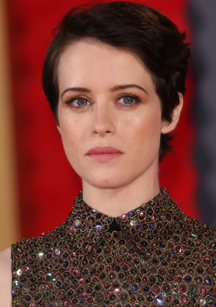 "Claire Foy wearing a Christian Dior Spring 2018 dress at Netflix's ""The Crown"" Season 2 world premiere"