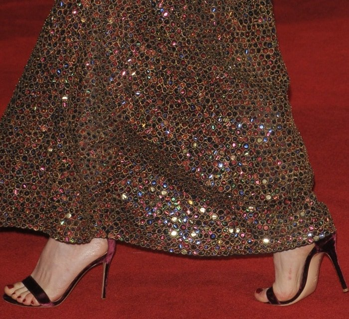 "Claire Foy wearing ankle-strap heels at Netflix's ""The Crown"" Season 2 world premiere"