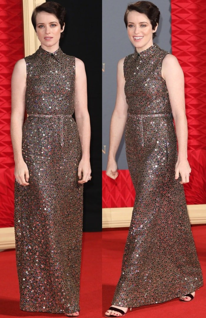 "Claire Foy wearing a Christian Dior Spring 2018 dress and ankle-strap heels at Netflix's ""The Crown"" Season 2 world premiere"