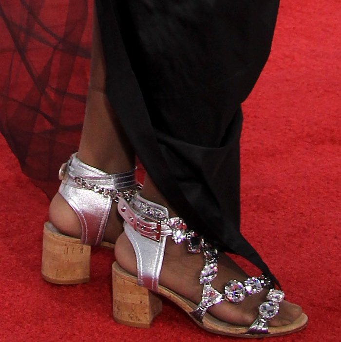 Diana Ross wearing embellished cork sandals at the 2017 American Music Awards