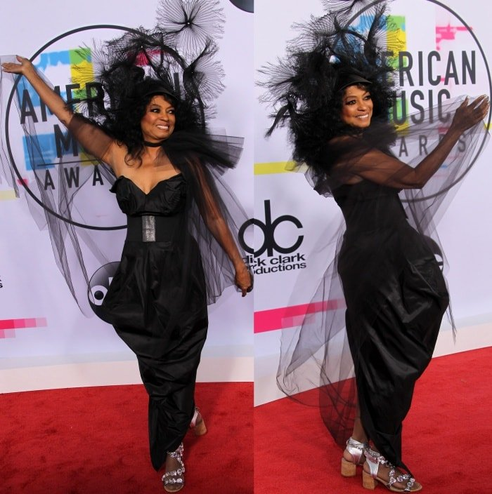 Diana Ross wearing a Vivienne Westwood Fall 2017 dress and embellished cork sandals at the 2017 American Music Awards