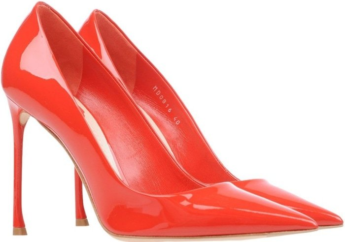 Dior red leather pointy-toe pumps