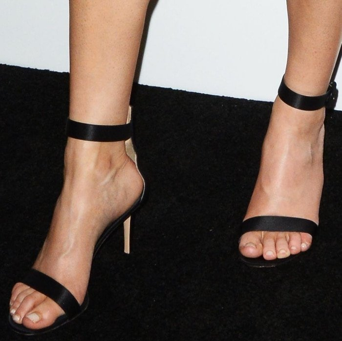 """Ellie Goulding wearing Gianvito Rossi ankle-strap sandals at the Bulgari """"From Rome to NYC"""" party"""