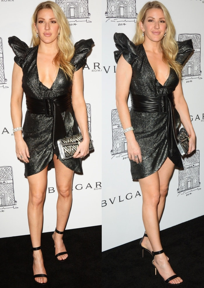 Ellie Goulding wearing a Redemption Fall 2017 dress and Gianvito Rossi sandals