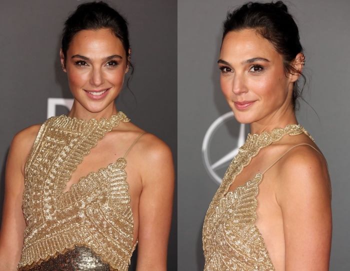 Gal Gadot kept her styling simple, opting for minimal makeup and a chic updo