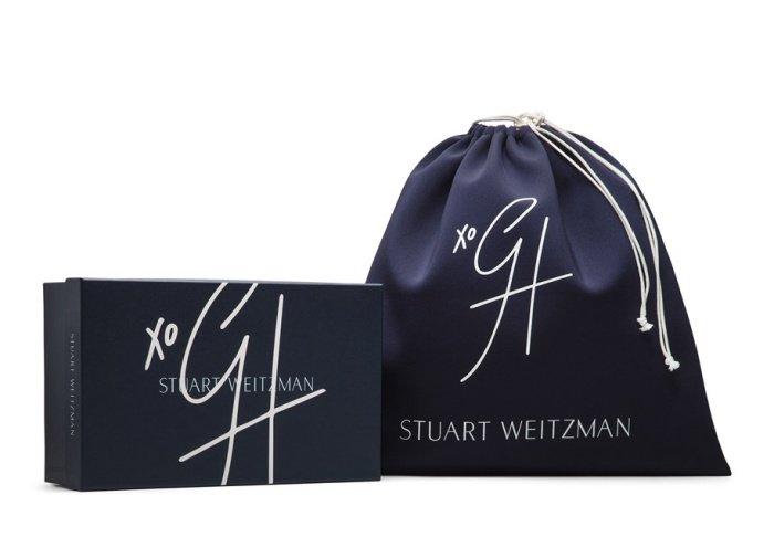"Gigi Hadid x Stuart Weitzman ""Eyelove"" mules in deep indigo"