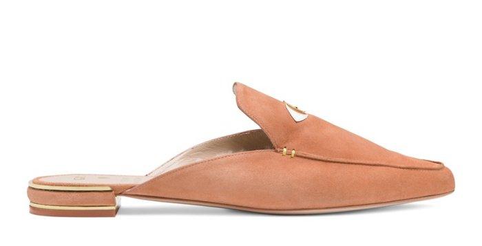 "Gigi Hadid x Stuart Weitzman ""Eyelove"" mules in ballet tan"