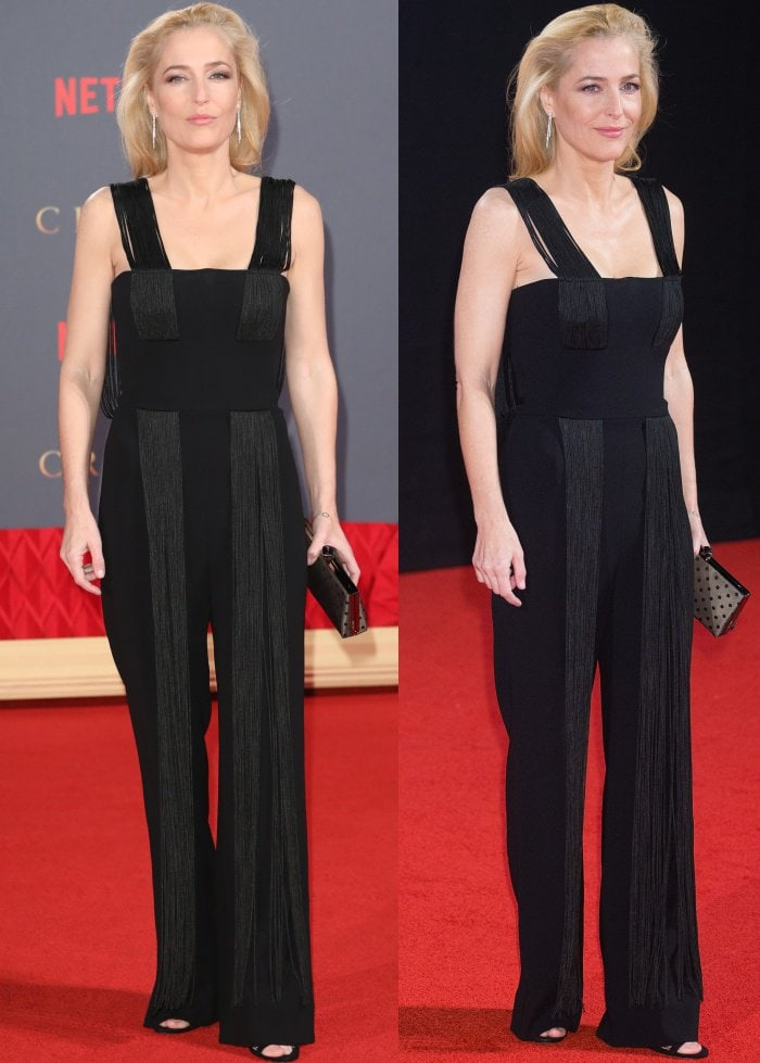 """Gillian Anderson wearing a Galvan Resort 2018 jumpsuit and black sandals at Netflix's """"The Crown"""" Season 2 world premiere"""