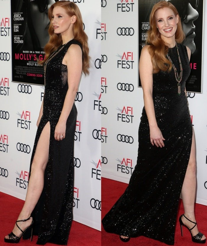 "Jessica Chastain wearing an Elie Saab Resort 2018 gown and Paul Andrew shoes at the AFI Fest screening of ""Molly's Game"""