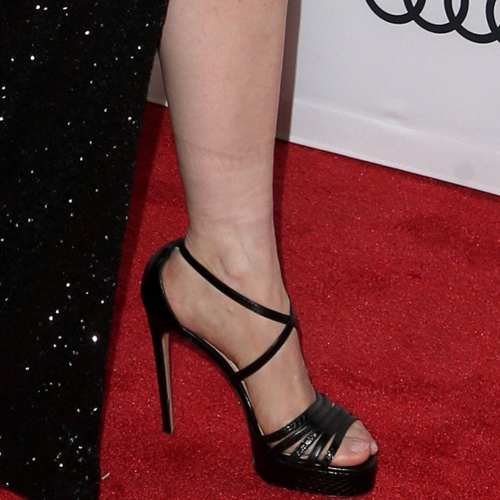 "Jessica Chastain wearing Paul Andrew shoes at the AFI Fest screening of ""Molly's Game"""