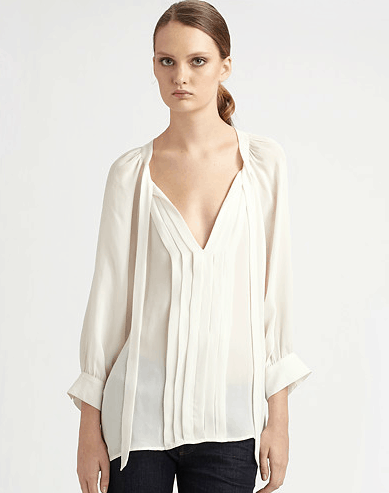 Joie Mirabella Silk Pintuck Top