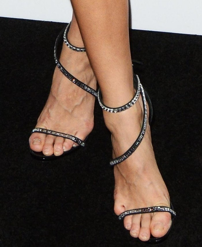 """Josephine Skriver wearing Giuseppe Zanotti """"Calliope"""" sandals at the Bulgari """"From Rome to NYC"""" party"""