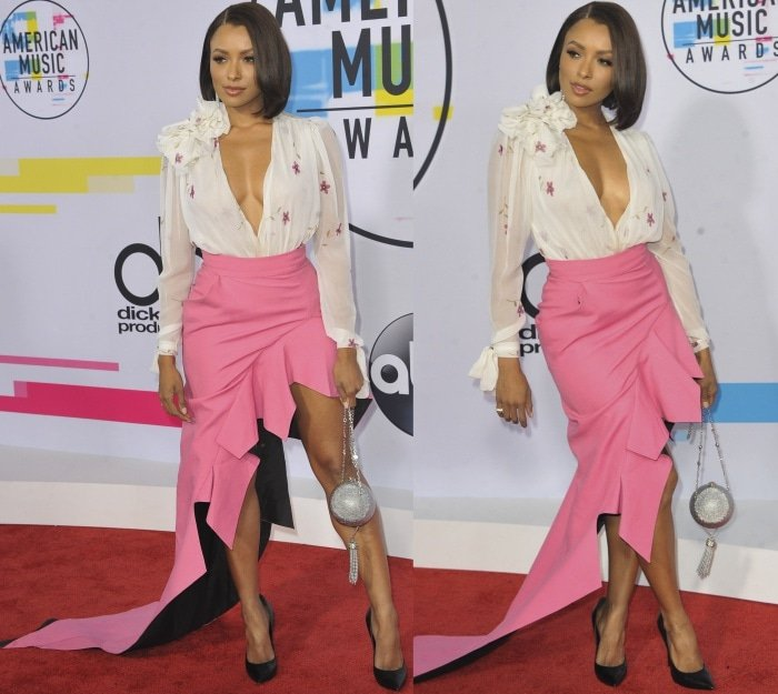 Kat Graham wearing a Ronald van der Kemp Spring 2017 Couture ensemble and black pointy-toe pumps at the 2017 American Music Awards