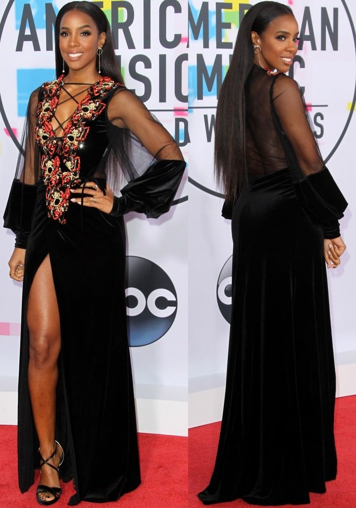 Kelly Rowland wearing a Galia Lahav Fall 2017 Couture gown and Jimmy Choo sandals at the 2017 American Music Awards