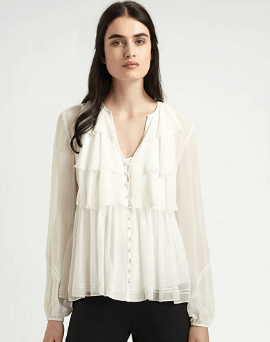 Lafayette 148 New York Ruffled Silk Blouse
