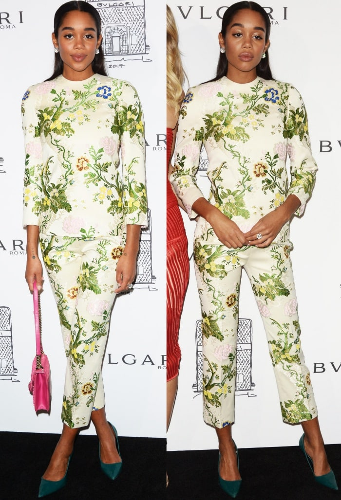 """Laura Harrier wearing a Calvin Klein by Appointment Fall 2017 ensemble and green suede pumps at the Bulgari """"From Rome to NYC"""" party"""
