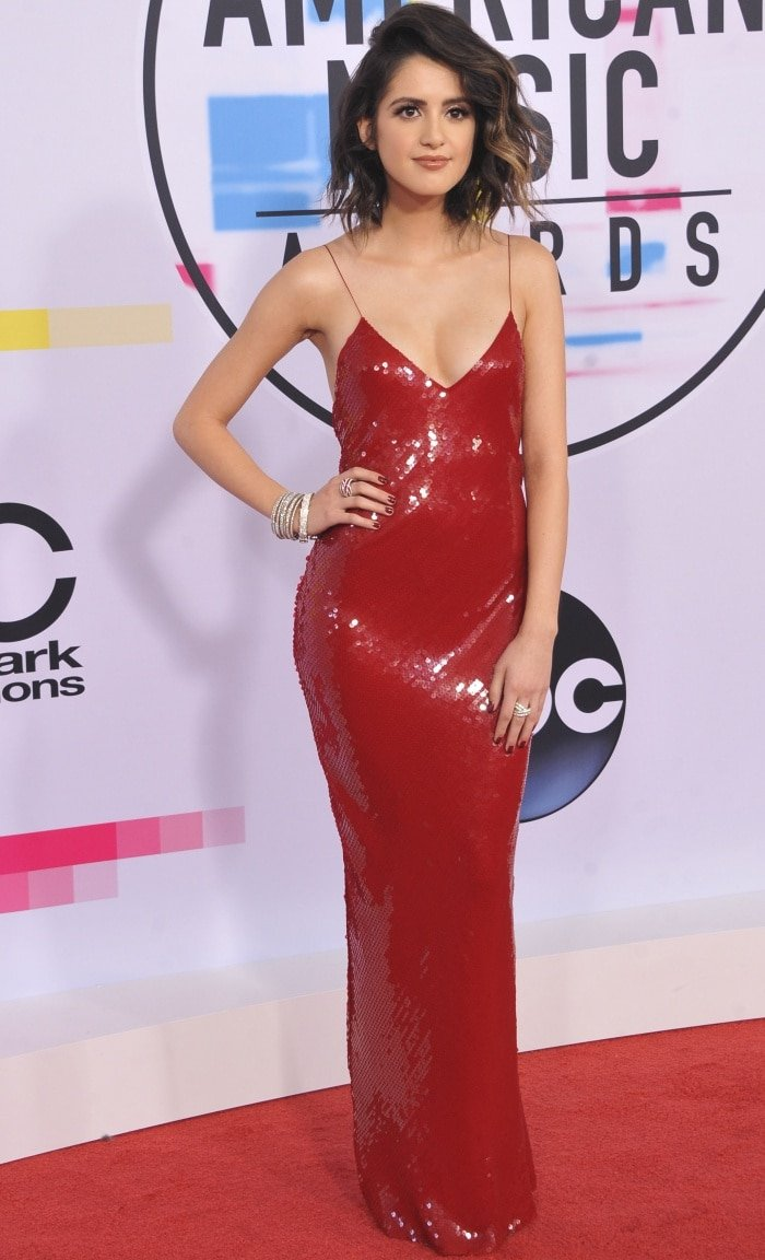 "Laura Marano wearing a Stella McCartney dress and Saint Laurent ""Jane"" sandals at the 2017 American Music Awards"