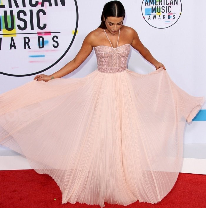 Lea Michele wearing a J. Mendel Spring 2018 gown and Stuart Weitzman sandals at the 2017 American Music Awards