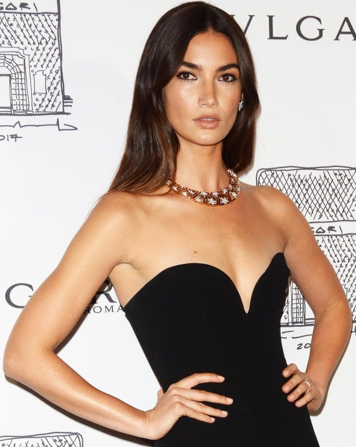 """Lily Aldridge wearing an Alex Perry Resort 2018 gown at the Bulgari """"From Rome to NYC"""" party"""