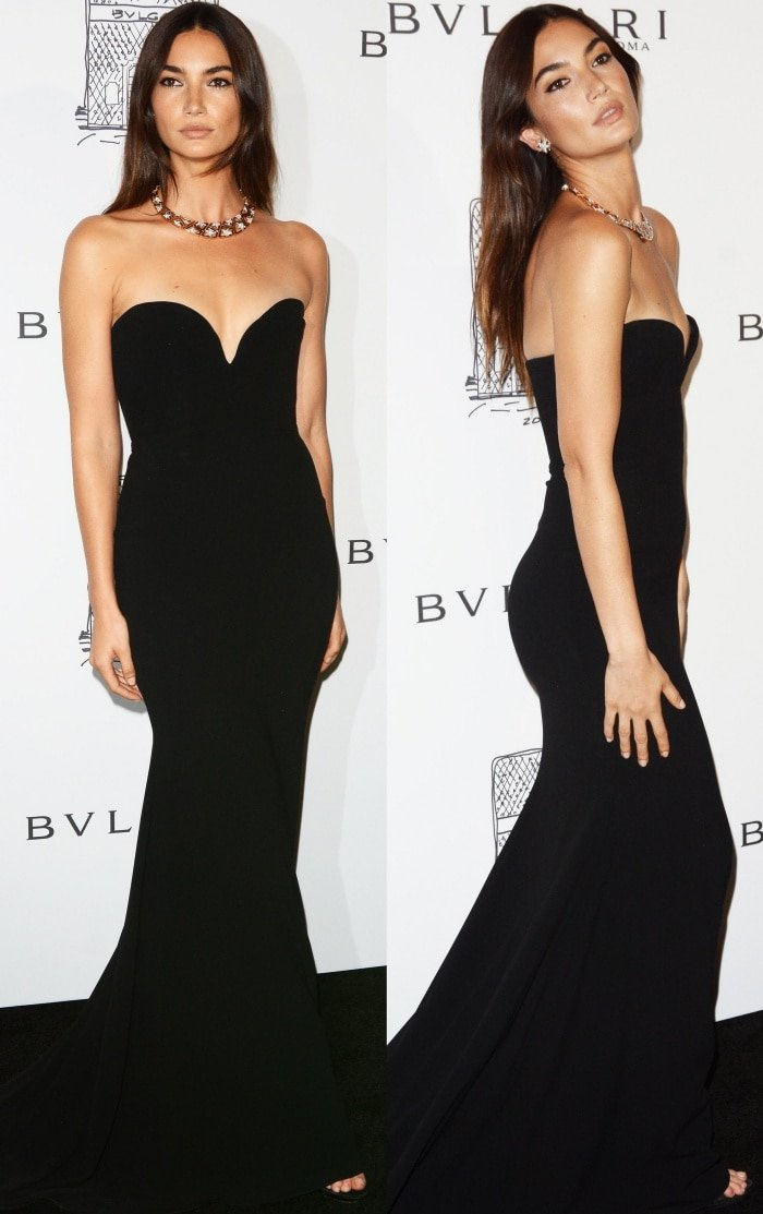 """Lily Aldridge wearing an Alex Perry Resort 2018 gown and Giuseppe Zanotti """"Sophie"""" sandals at the Bulgari """"From Rome to NYC"""" party"""