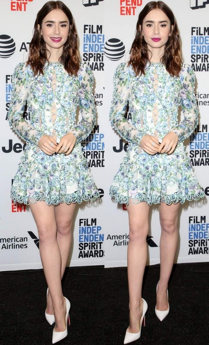 Lily Collins wearing a Zimmermann Spring 2018 dress and Christian Louboutin pointy-toe pumps at the 33rd Film Independent Spirit Awards nominations press conference
