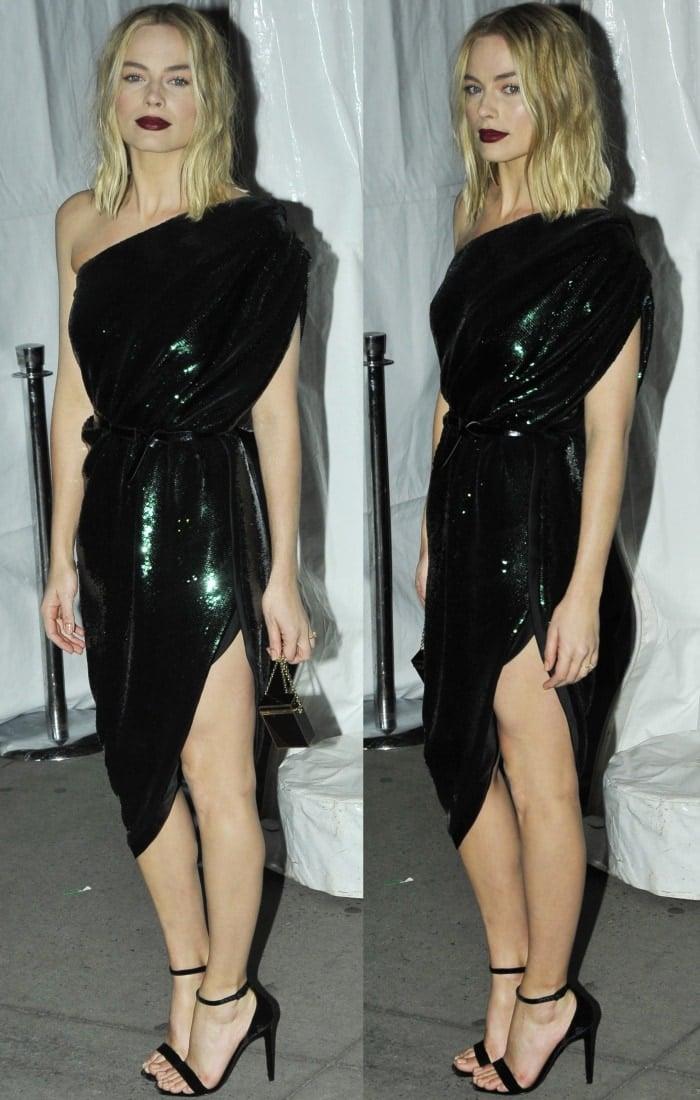 Margot Robbie Goes Gothic Glam In Head To Toe Saint Laurent