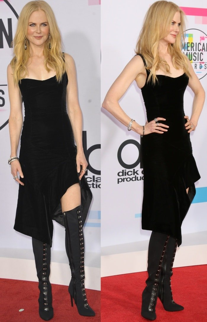 "Nicole Kidman wearing an Olivier Theyskens Spring 2018 dress and Giuseppe Zanotti ""Janice High"" boots at the 2017 American Music Awards"