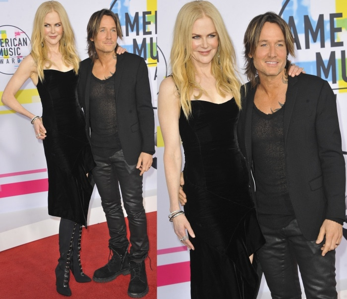 Nicole Kidman and husband Keith Urban wearing all-black ensembles at the 2017 American Music Awards