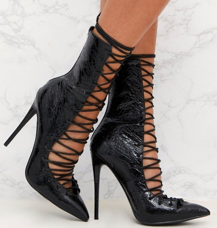 PrettyLittleThing by Kourtney Kardashian black lace-up detail croc stiletto boots