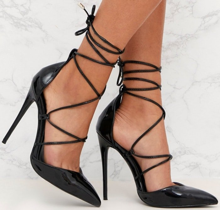 PrettyLittleThing by Kourtney Kardashian black pointed patent stiletto heels