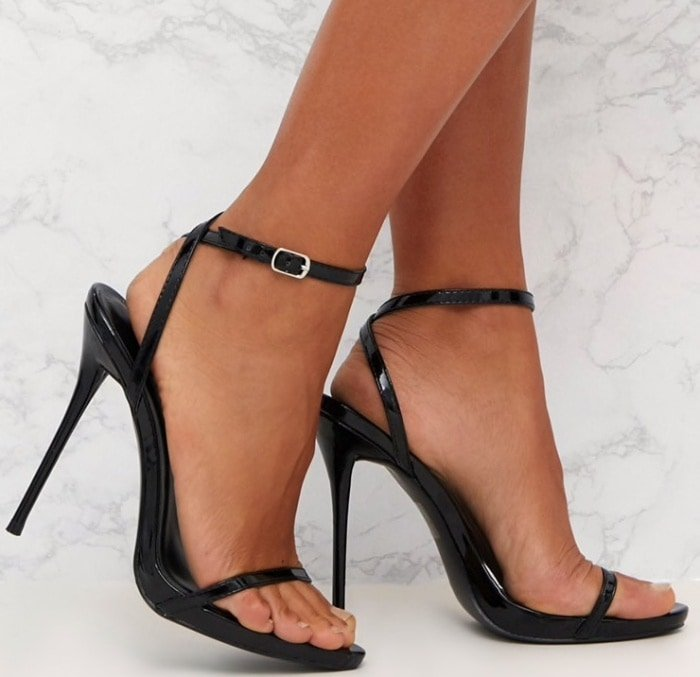 PrettyLittleThing by Kourtney Kardashian patent PU single strap stiletto sandals in black