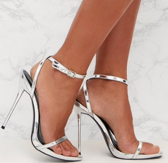 PrettyLittleThing by Kourtney Kardashian patent PU single strap stiletto sandals in silver
