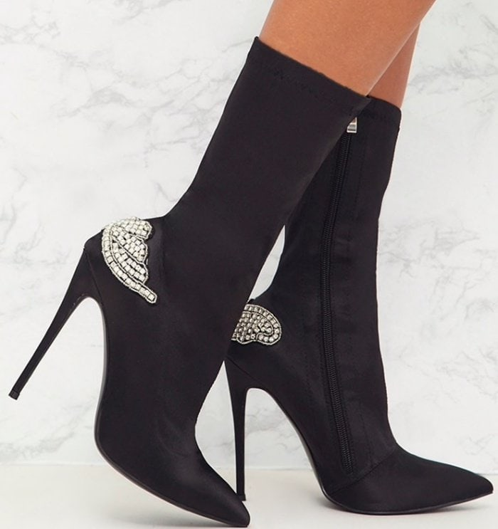 PrettyLittleThing by Kourtney Kardashian satin diamante detail heeled ankle boots in black