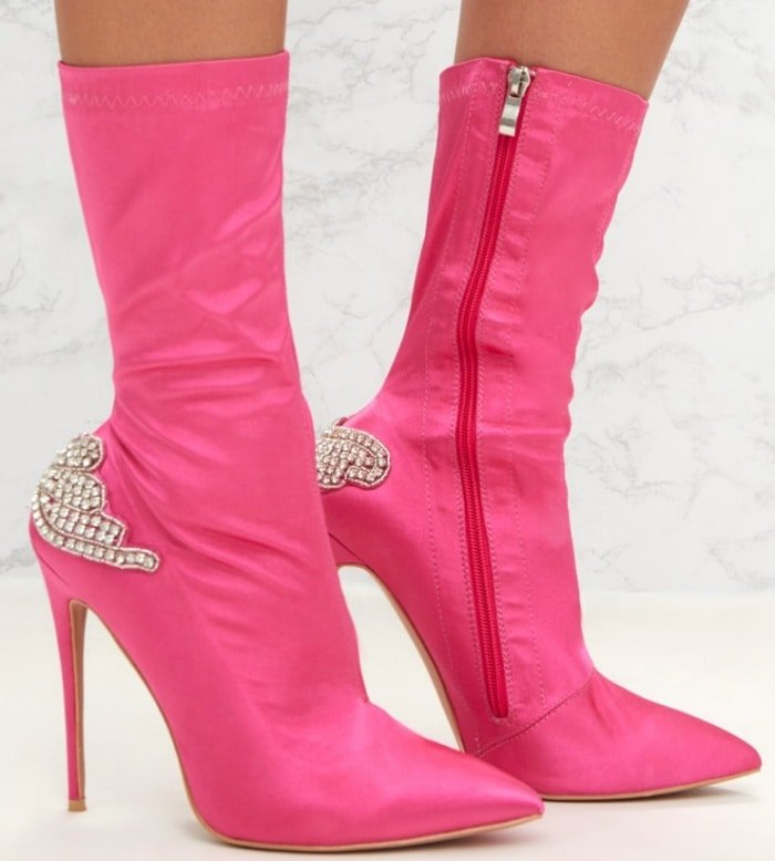 PrettyLittleThing by Kourtney Kardashian satin diamante detail heeled ankle boots in fuchsia