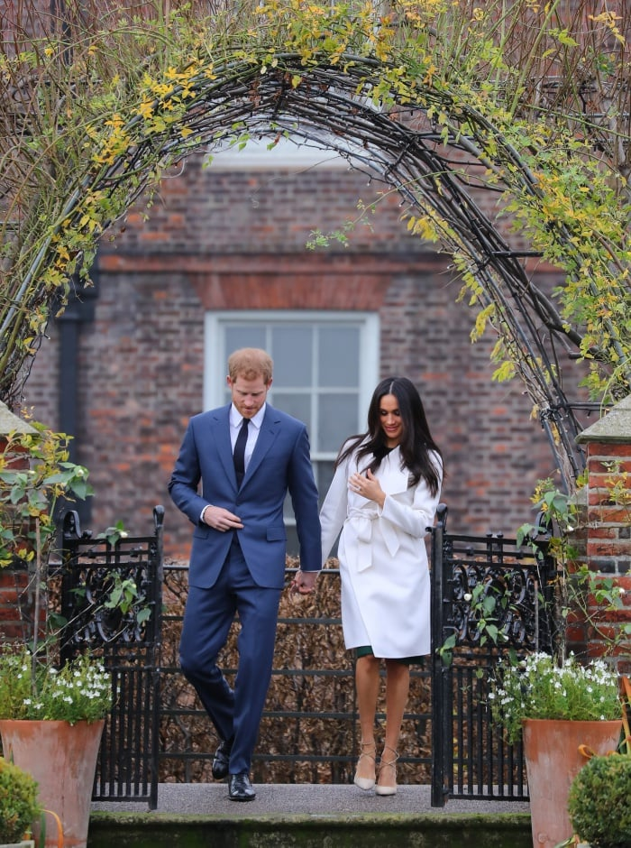 Prince Harry and Meghan Markle announcing their engagement during a photocall held at Kensington Palace in London