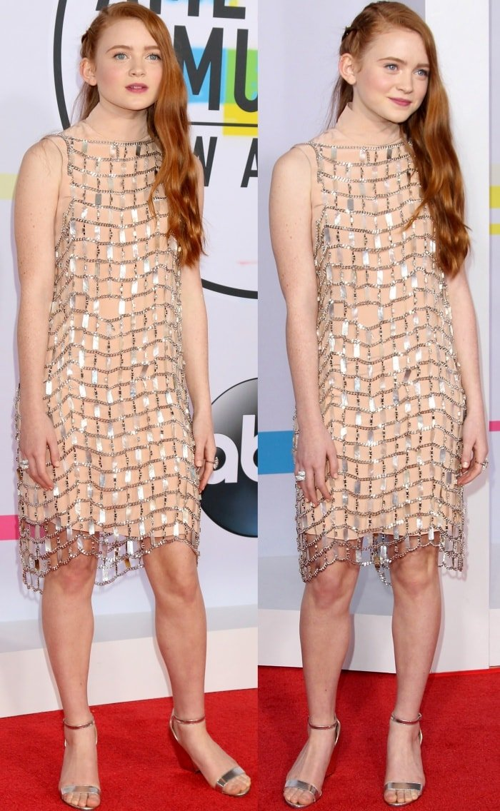 Sadie Sink wearing a Prada dress and metallic silver sandals at the 2017 American Music Awards