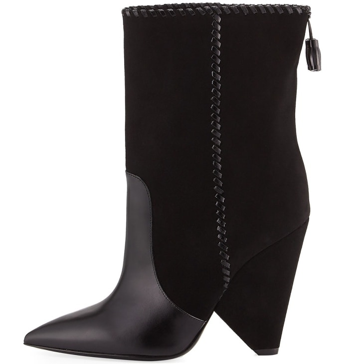 "Saint Laurent ""Niki"" mixed leather mid-calf boots"