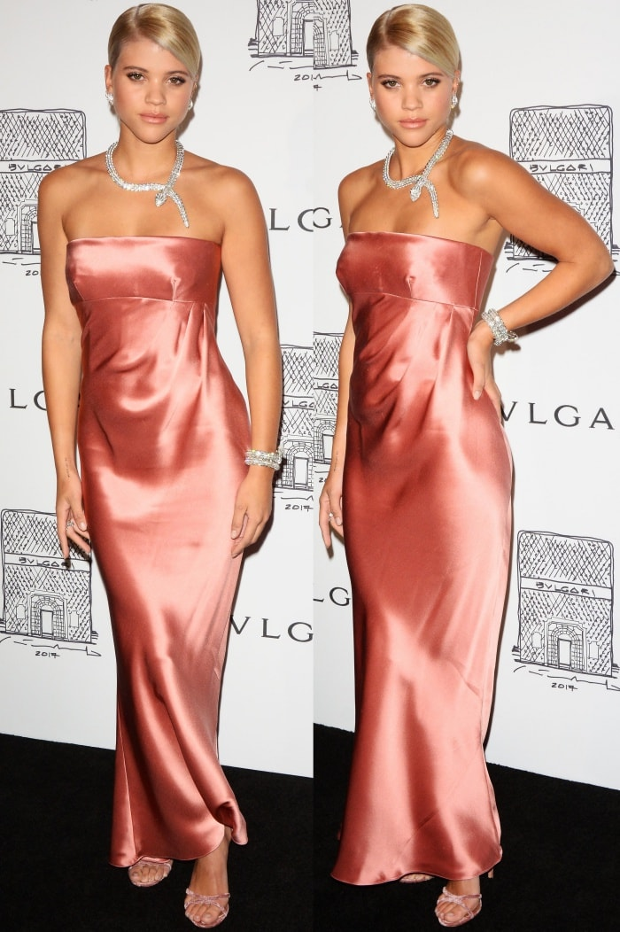 """Sofia Richie wearing a Giorgio Armani dress and Aquazzura """"Purist"""" sandals at the Bulgari """"From Rome to NYC"""" party"""