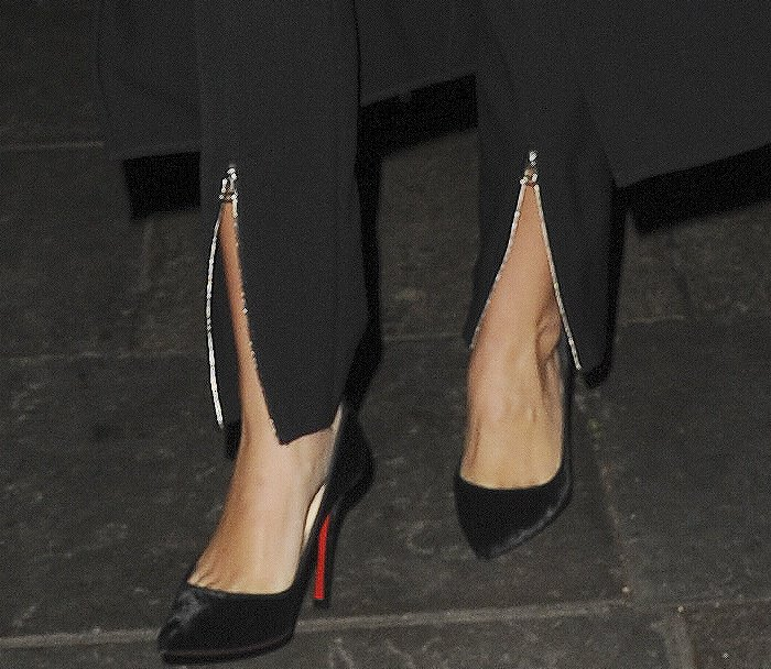 Sofia Richie wearing black pointy-toe pumps at the Nip and Fab exclusive party in London