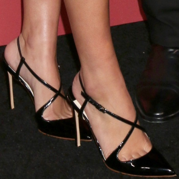 Sofia Richie wearing Francesco Russo crisscross pumps at the SAG-AFTRA Foundation Patron of the Artists Awards