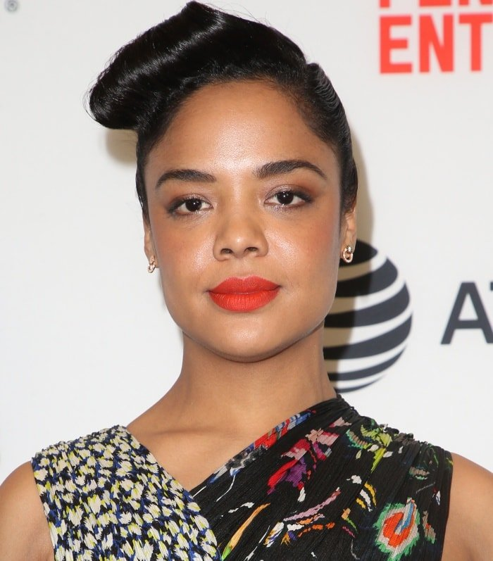 Tessa Thompson wearing a Jason Wu Spring 2018 dress at the 33rd Film Independent Spirit Awards nominations press conference