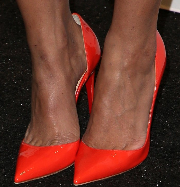 Tessa Thompson wearing Christian Louboutin pointy-toe pumps at the 33rd Film Independent Spirit Awards nominations press conference
