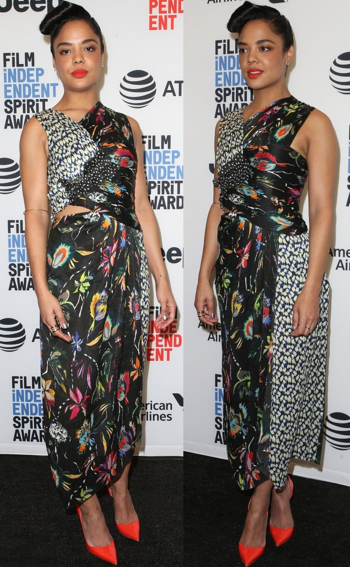Tessa Thompson wearing a Jason Wu Spring 2018 dress and Christian Louboutin pointy-toe pumps at the 33rd Film Independent Spirit Awards nominations press conference