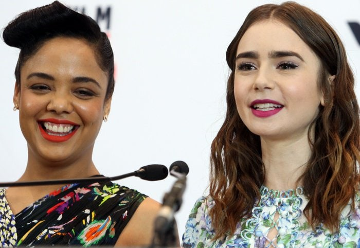 Tessa Thompson and Lily Collinsat the 33rd Film Independent Spirit Awards nominations press conference